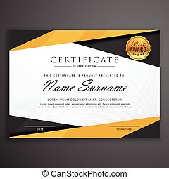yellow and black geometric certificate award design template