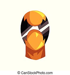 Yellow and black mask of super hero face vector Illustration on a white background