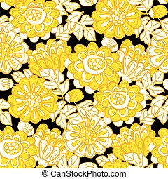 Yellow and black modern marigold seamless pattern or fabric, wrapping paper, surface design projects. Hand drawn fall floral repeatable motif.