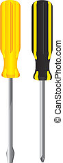 screwdriver - yellow and black screwdriver isolated over...