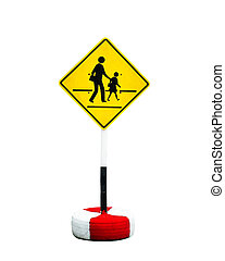 Yellow and black sign with a pedestrian crossing the road.