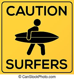 Yellow and black square caution sign with surfer - Yellow...