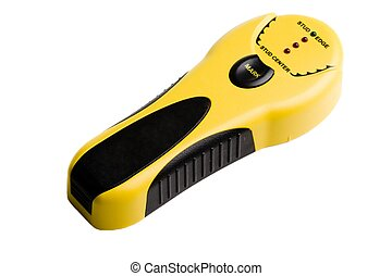 Yellow and Black stud finder on a white background