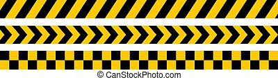Yellow and black warning ribbons. The set is isolated on a white background. Vector illustration