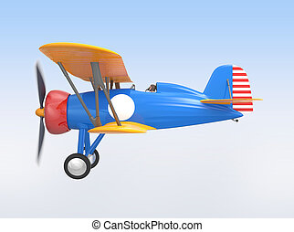 Yellow and blue biplane flying in the sky.