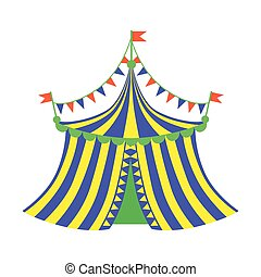 Yellow And Blue Circus Tent, Part Of Amusement Park And Fair...