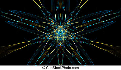 Yellow and blue fractal elements on black background