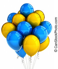 Yellow and blue party ballooons