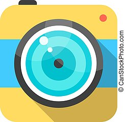 yellow and blue photo camera icon