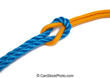 Yellow and Blue Ropes tied together with a reef knot - Two...