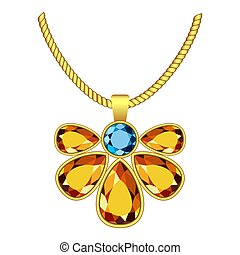 Yellow and blue topaz jewelry icon, realistic style