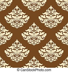 Yellow and brown floral seamless pattern