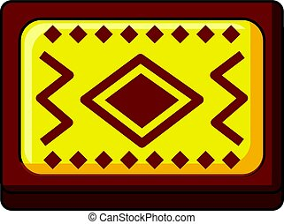 Yellow and brown Turkish carpet icon cartoon style