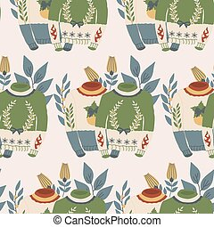 yellow and green christmas swaters with decorations and flowers in a seamless pattern design.