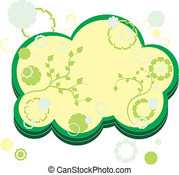 Yellow and green greetings card with flowers, part 14,  vector illustration