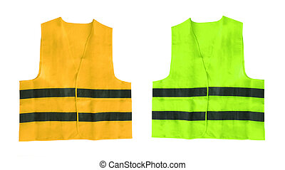 yellow and green safety vest isolated