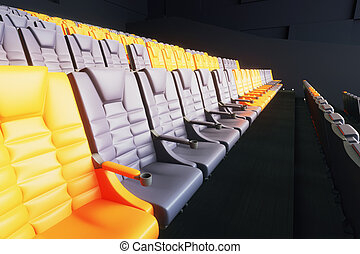 Yellow and grey cinema seats