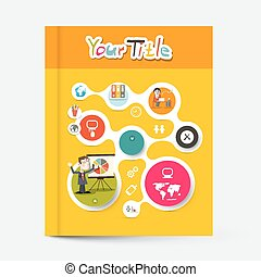 Yellow and Orange Brochure - Business Education Book Vector Cover Design with Circle Graphs and Technology Icons