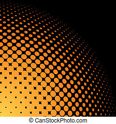 Yellow and orange halftone background with black copy space.