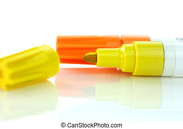 Yellow and orange markers