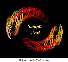 Yellow and Orange abstract oval border over black background with copy space for text in centre of design