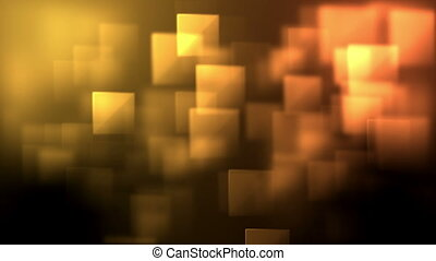 Yellow and orange squares appearing against a black...