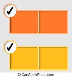 yellow check box. yellow and orange text frame with check box