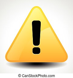 Yellow and orange warning, attention, caution sign. Road sign with exclamation point, exclamation mark.