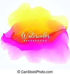 yellow and pink bright watercolor stain background