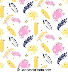 Yellow and pink palm leaves seamless vector pattern.
