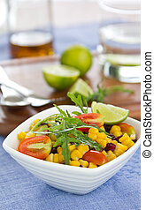 Yellow and Purple Sweetcorn with Rocket salad