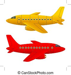 Yellow and red aircraft on a white background. Isolated objects. Cartoon style. Vector Image.