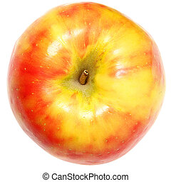 Yellow and Red Apple Over White