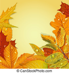 Yellow and red autumn leaves background