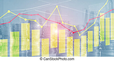 Yellow and red candles and charts on business technology background
