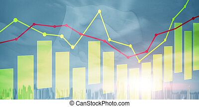Yellow and red candles and charts on business technology background.