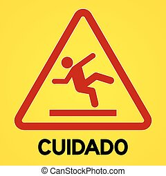 Yellow and red cuidado symbol