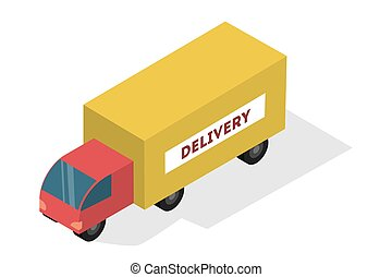 Yellow and red delivery truck. Fast shipping