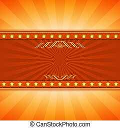 Yellow and red entertainment ray burst vector background with copy space.