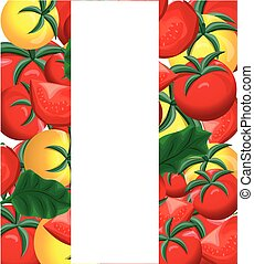 Yellow and red fresh tomatoes background