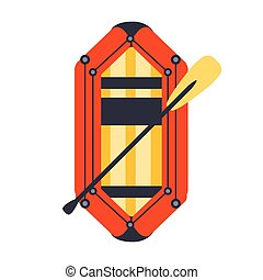 Yellow And Red Inflatable Dinghy With Peddle, Part Of Boat...