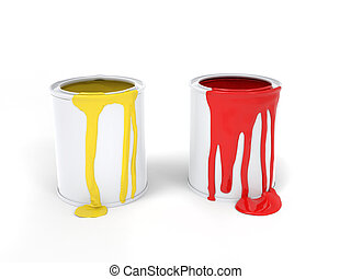 Yellow and red paint leaking from paint cans