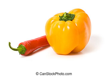 Yellow and red peppers isolated