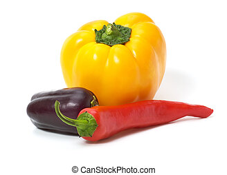 Yellow and red peppers with eggplant isolated