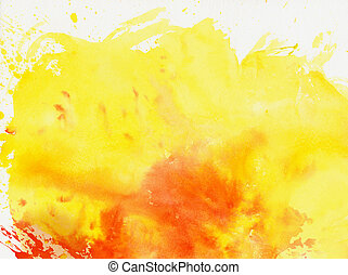 yellow and red splashing watercolor