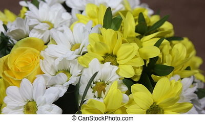 yellow and white Chrysanthemums bouquet close up turns