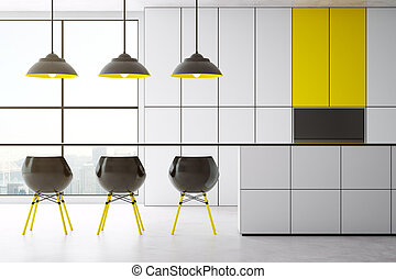 Yellow and white kitchen