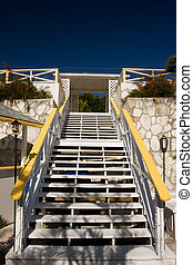yellow and white stairs