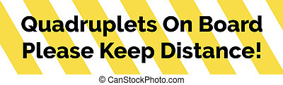 Yellow and white striped warning bumper sticker with warning...