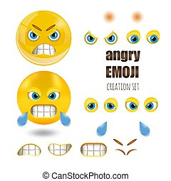 Yellow angry smiley emoticons set, emoji, vector illustration.
